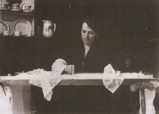 Traditional lace making, Limerick, Ireland, 1936