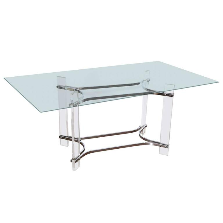 Charles Hollis Jones Glass And Lucite Console Table