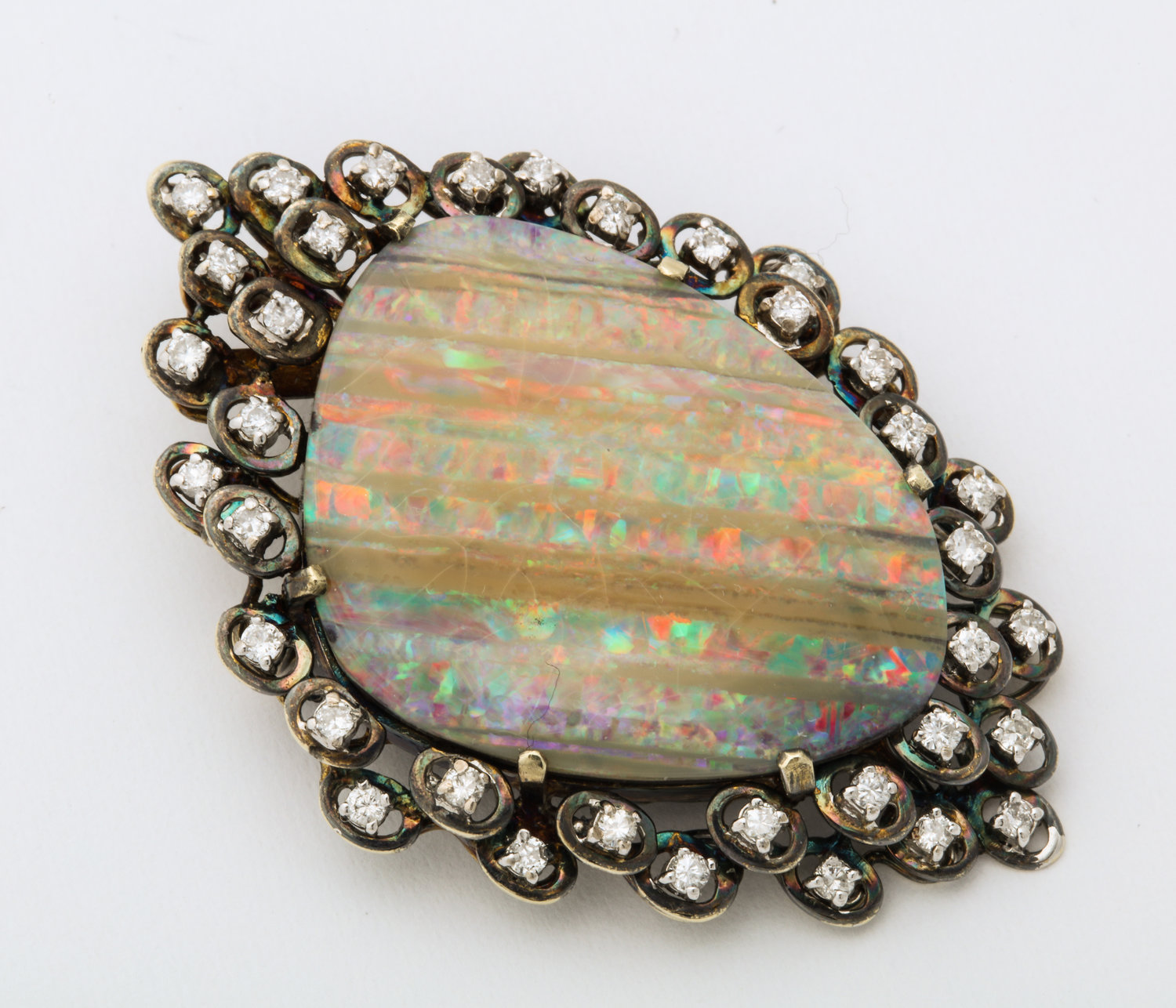 small aqua foil foiled blue with opal brooch vintage rhinestone pin accents
