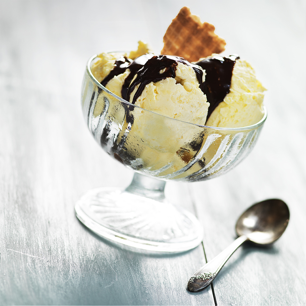 Vanilla Ice Cream and Chocolate Sauce