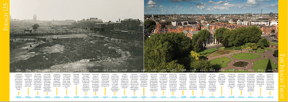 Here is the centre spread of The Iveagh Trust annual report with the two photographs for comparison.