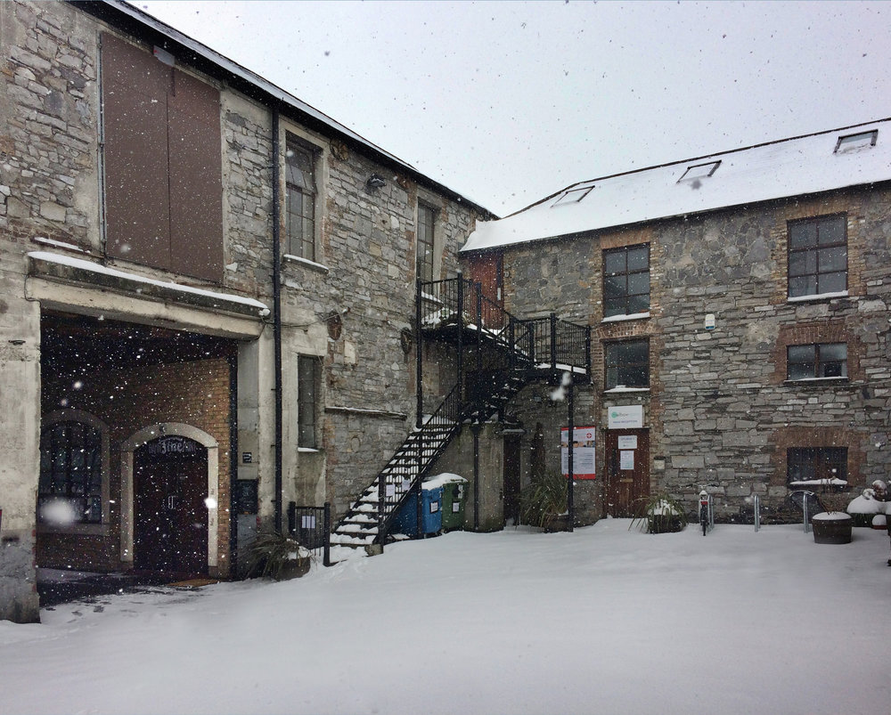Photographic Studio under snow in Dublin. March 2018