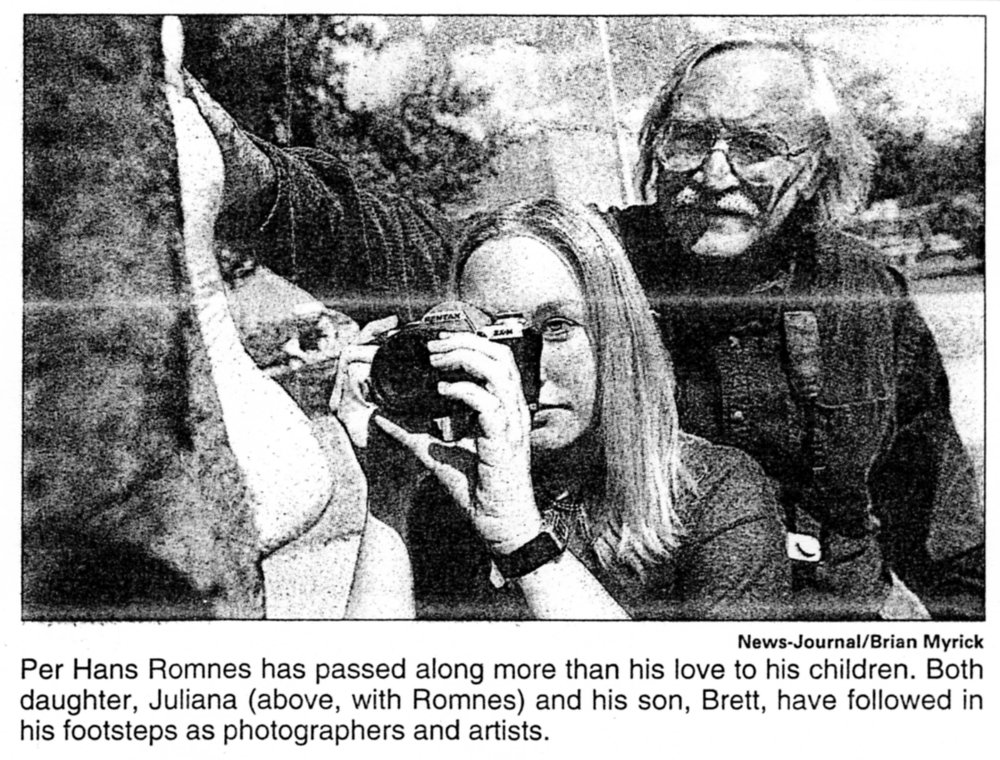 Museum Director Juliana Romnes and her father Per Hans, a photography instructor at Daytona State College. Picture taken from Daytona Beach News Journal, 2000.