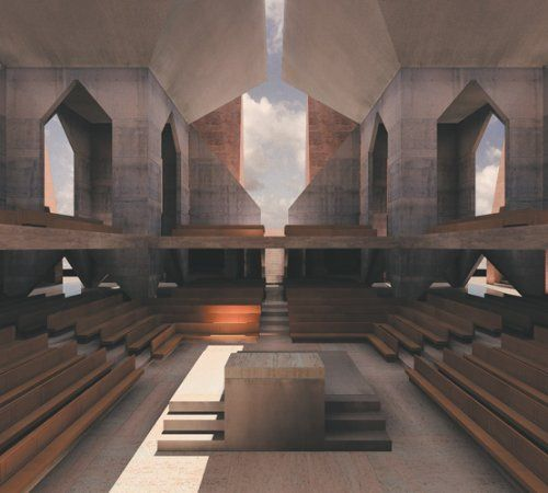 Hurva Synagogue Sacred Interior - Rendering from McCarter's  Louis I Kahn