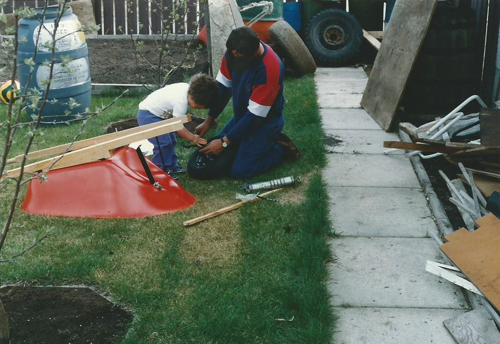 Working with my dad in the family home backyard. 1990, Edmonton, AB