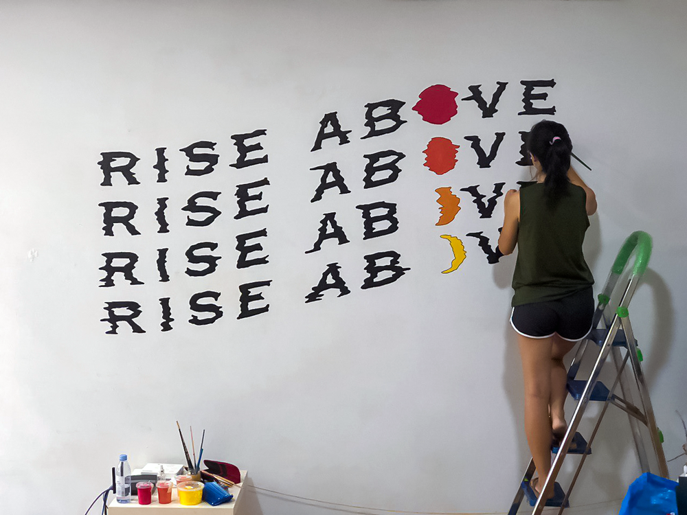 Residential Rise Above Glitch Wavy Typographic Lettering Wall Mural Singapore.jpg