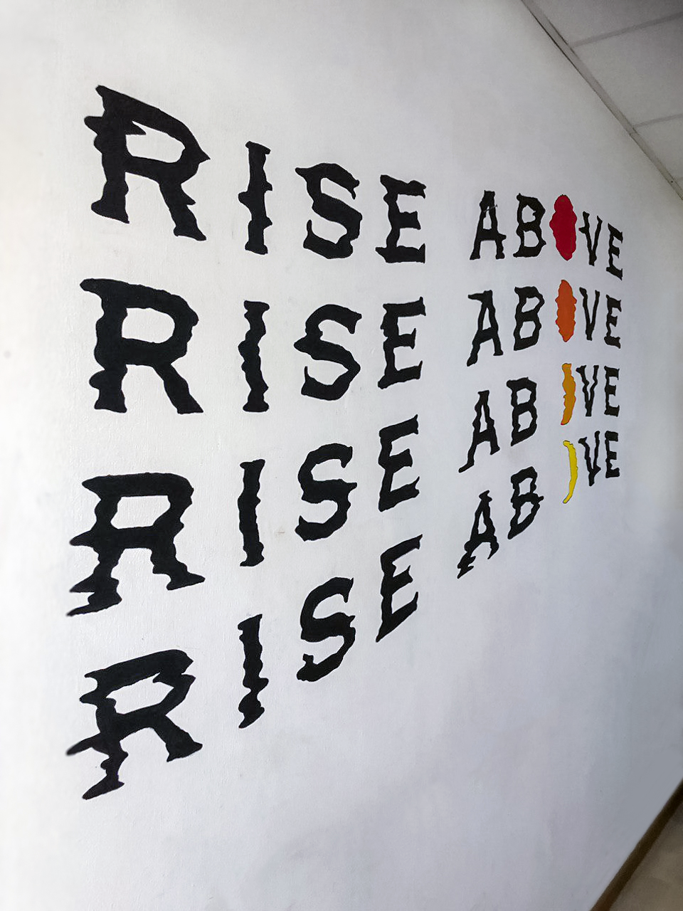 Residential Rise Above Glitch Wavy Moon Sun Typographic Lettering Wall Mural Singapore.jpg
