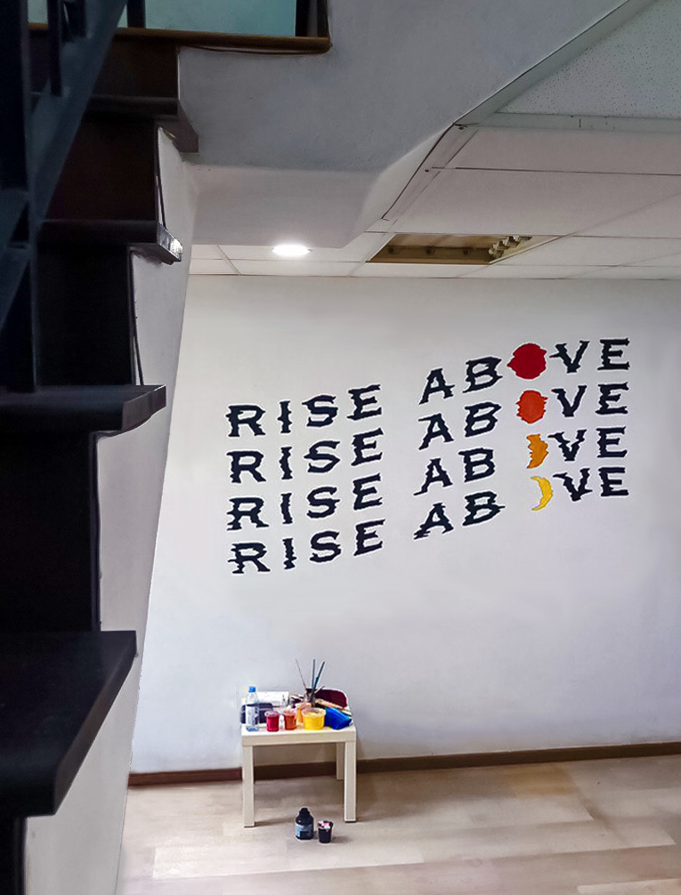 Residential Rise Above Glitch Wavy Moon Sun Typographic Lettering Wall Mural Singapore Bungalow.jpg
