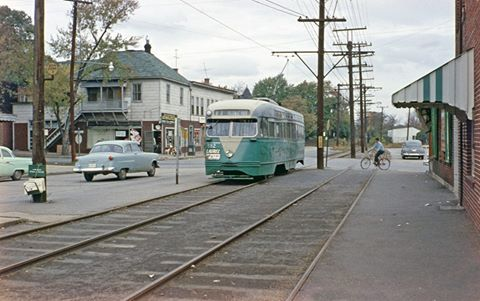 Streetcar 82 in Riverdale Park at Town Center (c. 1950)