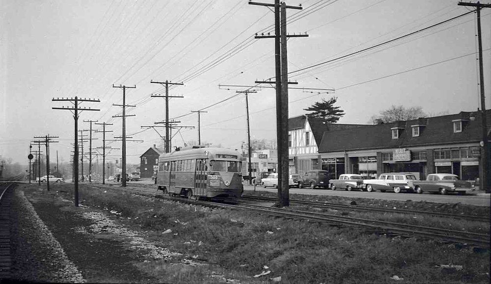 Streetcar 82 at Crittenden Crossing, Hyattsville (1957)