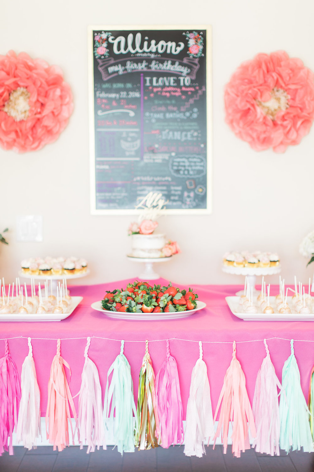 One can never have too many paper tassels or decorations. This dessert table is festive without being over the top with a tassel banner in pink, coral, turquoise and gold. Big, poufy  paper flowers  were scattered throughout the party.