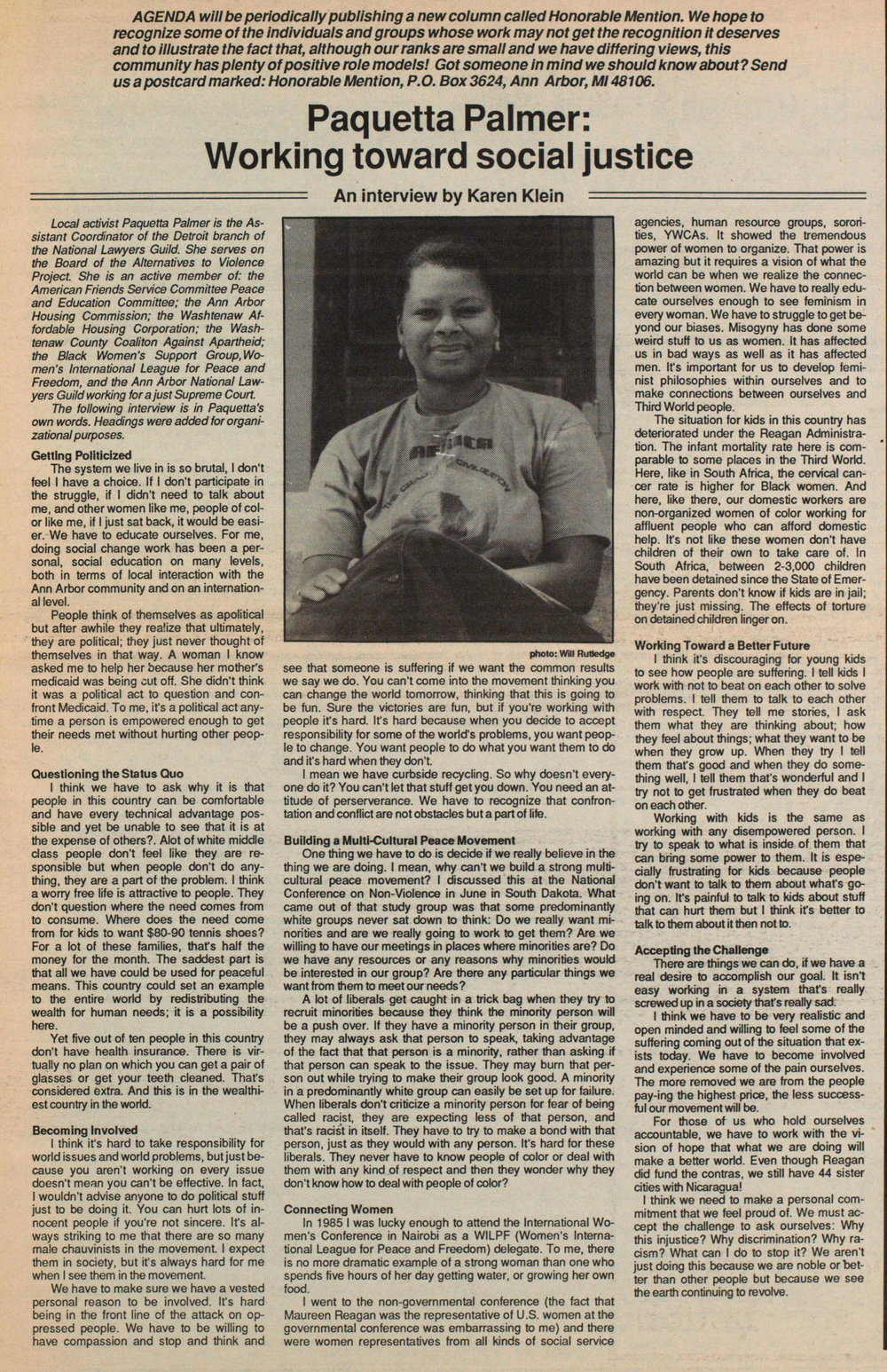 This is the  Agenda  article from 1987 discussed in the podcast. Taken from the Ann Arbor District Library website.  aadl.org