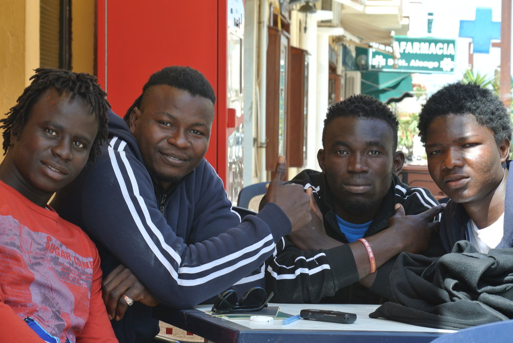 Yeussupha (17, Gambia),  Prince  (25, Nigeria),  Destiny  (22, Nigeria), and  Souleman  (19, Gambia), in Lampedusa, 29 April 2017.