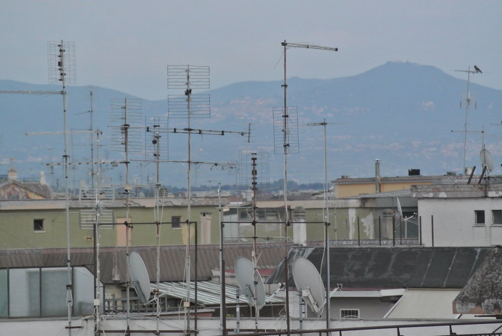 Alien Antennas: space colonists ready to receive transmissions. Rome, Portuense; May 2018.  ©Pamela Kerpius