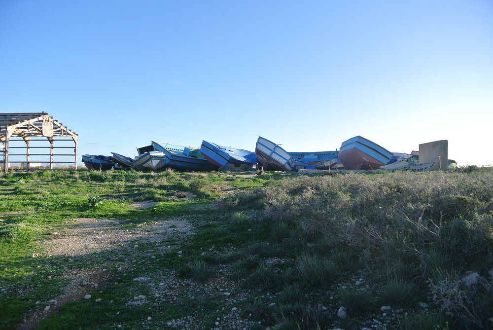Il cimitero delle barche  (the boat graveyard) in 2016. Lampedusa, Italy; November 2016.  © Pamela Kerpius