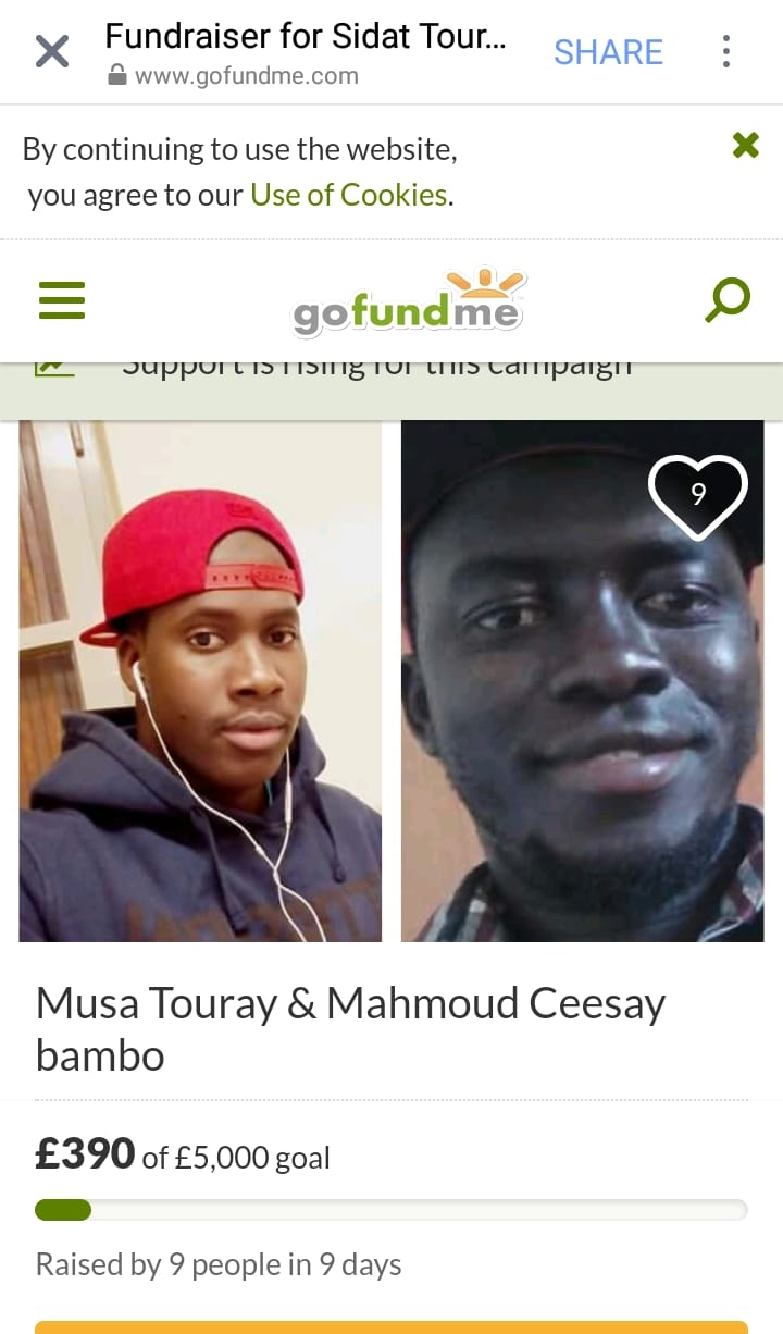 The Go Fund Me page to raise money for the repatriation of Musa and Mahmoud's remains. August, 2018. © Pamela Kerpius