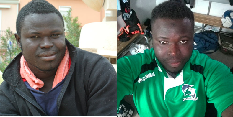 Yanks on Lampedusa island about 10 days after being rescued on the Mediterranean (L); a recent selfie he took with his phone in Naples, Italy. (R) © Pamela Kerpius