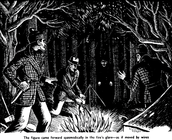 """Illustration from Algernon Blackwood's classic horror tale """"The Wendigo"""" in the June, 1944 edition of Famous Fantastic Mysteries."""