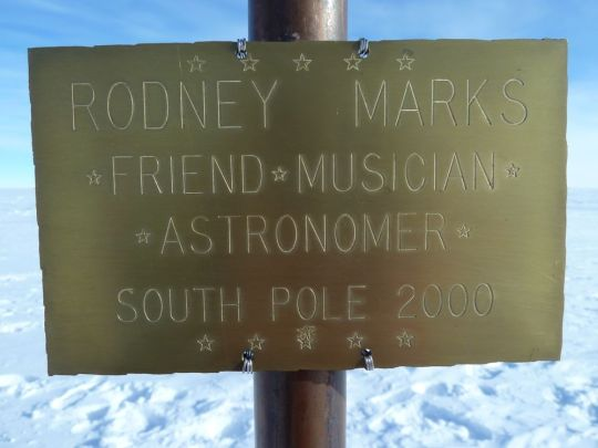 A plaque left in honor of Rodney Marks.