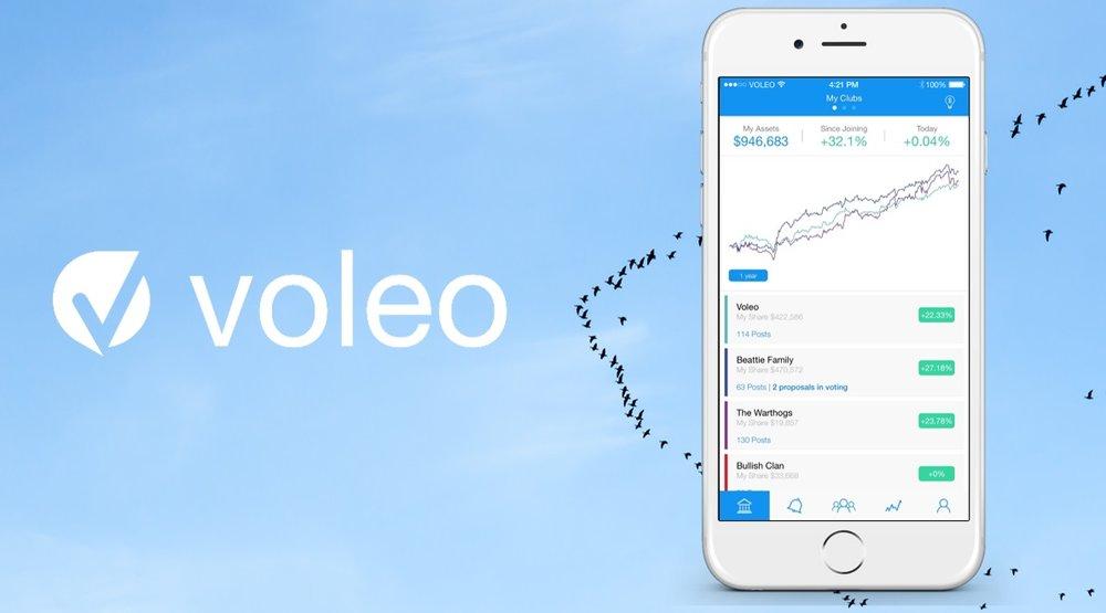 Voleo investment club app screenshot and logo