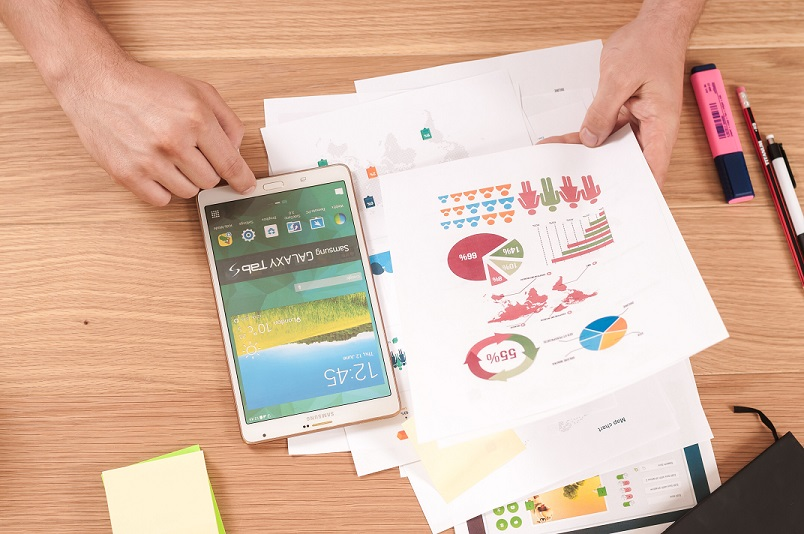 Business idea resources on desk with tablet