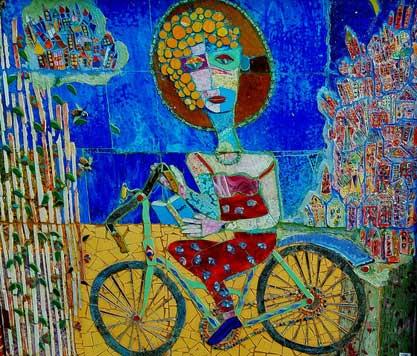Women on a Bike Reading Poetry