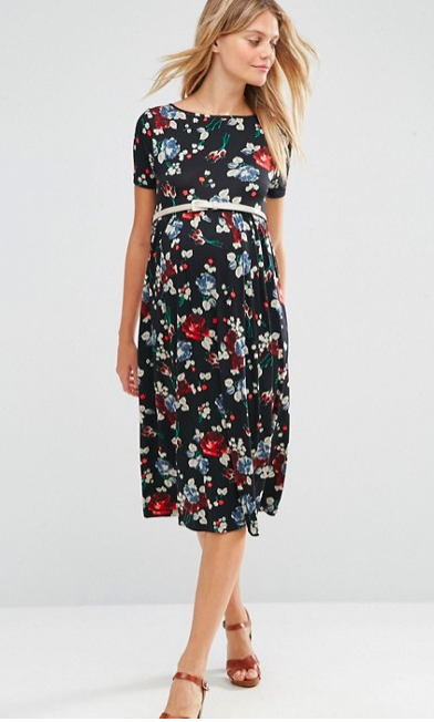 Maternity Floral Midi Dress - Sale $18.04, Regular $45.10