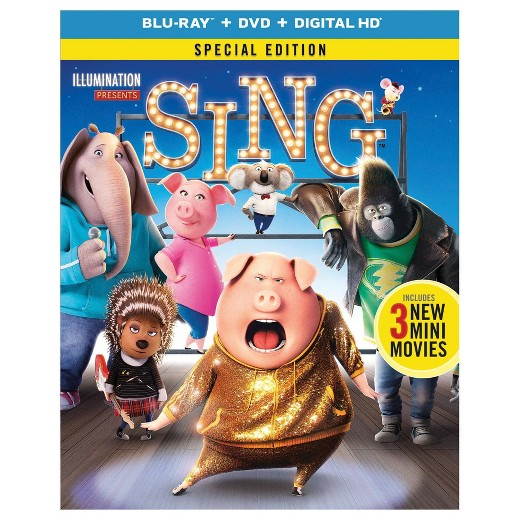 Sing Blu-Ray/DVD/Digital Copy: Sale $13, Regular $19.99