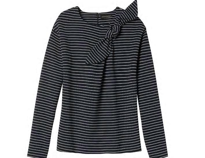Striped Bow-neck Couture Sweatshirt: Sale $19.79, Regular $58.00