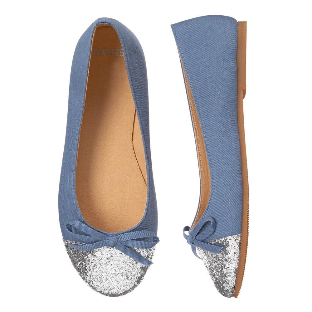 Girls Glitter Toe Flats: Sale $6.99, Regular $32.95