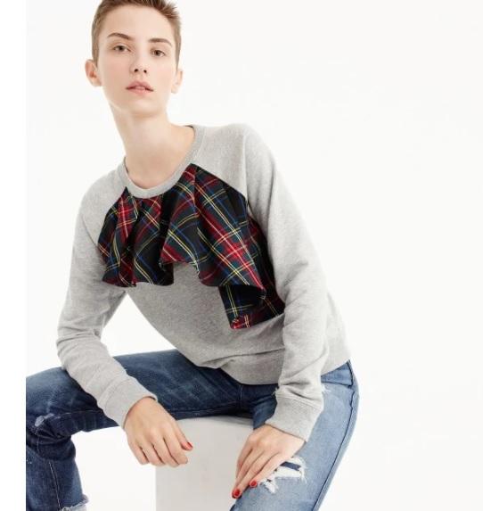 Tartan Ruffle Sweatshirt: Sale $15.99, Regular $59.50