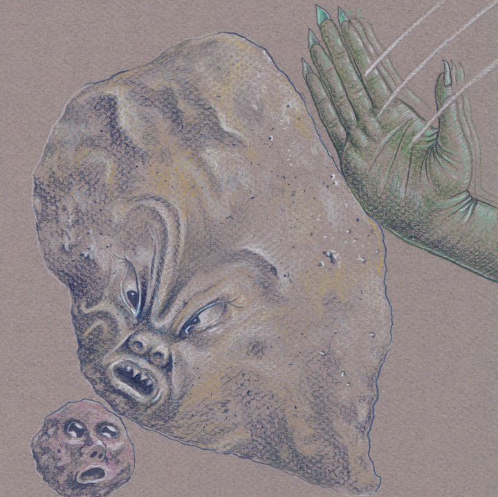 "Underchop, 7.5"" x 7.5"", colored pencil on paper"