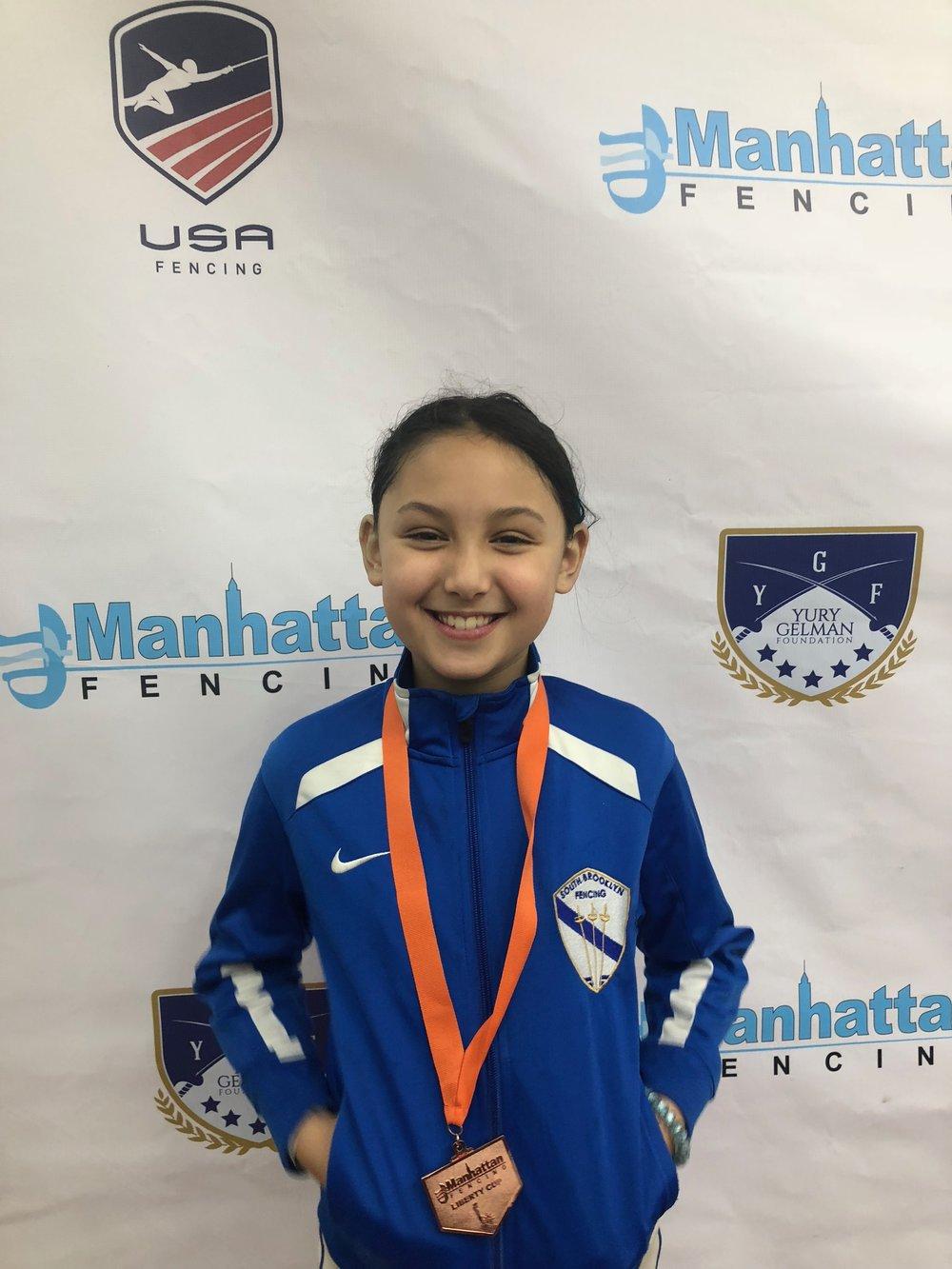 Manhattan Fencing Center Youth    Alex Lambrechts medallist Y10 women's  December 2nd 2018