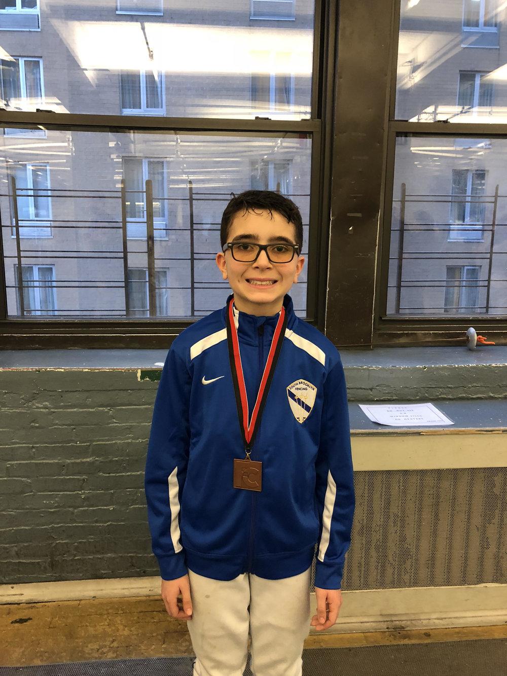 Fencers Club YOUTH Y12 Sebastian Garcia 3rd place   February 24th 2019