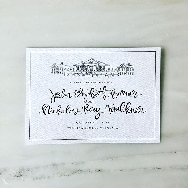 A classic 'Save the Date' featuring a sketch of the Williamsburg Inn. A fall wedding in Virginia...😍😍😍! #savethedate #virginiawedding #williamsburginn #williamsburg #studioscenes #thatsdarling #weddingdesign #emilyjudithart #handlettering