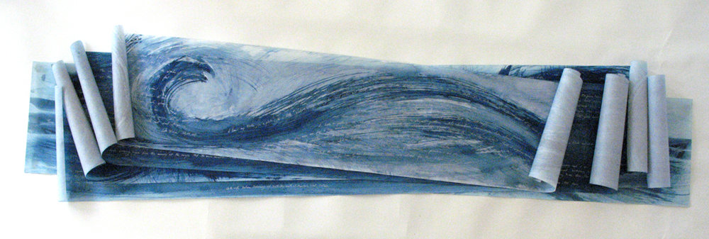 Detail, from Five Scrolls of Indigo Waves Containing Writings of The Connection of Water -2001