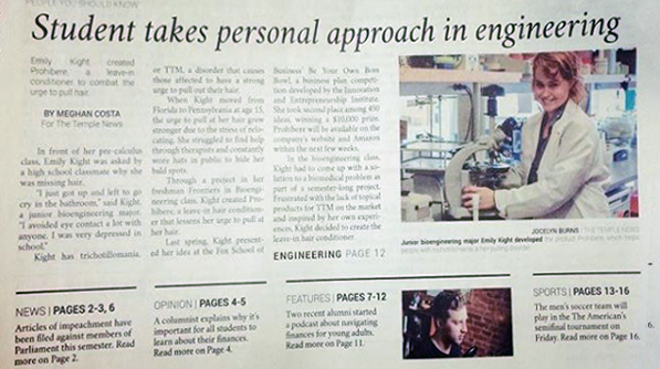 TEMPLE NEWS Cover page on Emily Kight personal approach to engineering