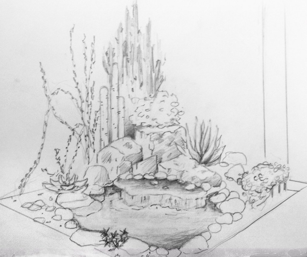 Sketch for entry-way fountain
