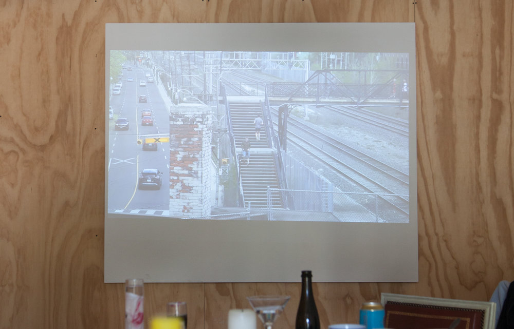 Views From The Table  Video projection featuring immersive audio of passing trains. Runtime: 00:49:52 (looped)