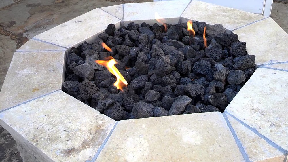 Fire Pit with Black Lava Rock Installation