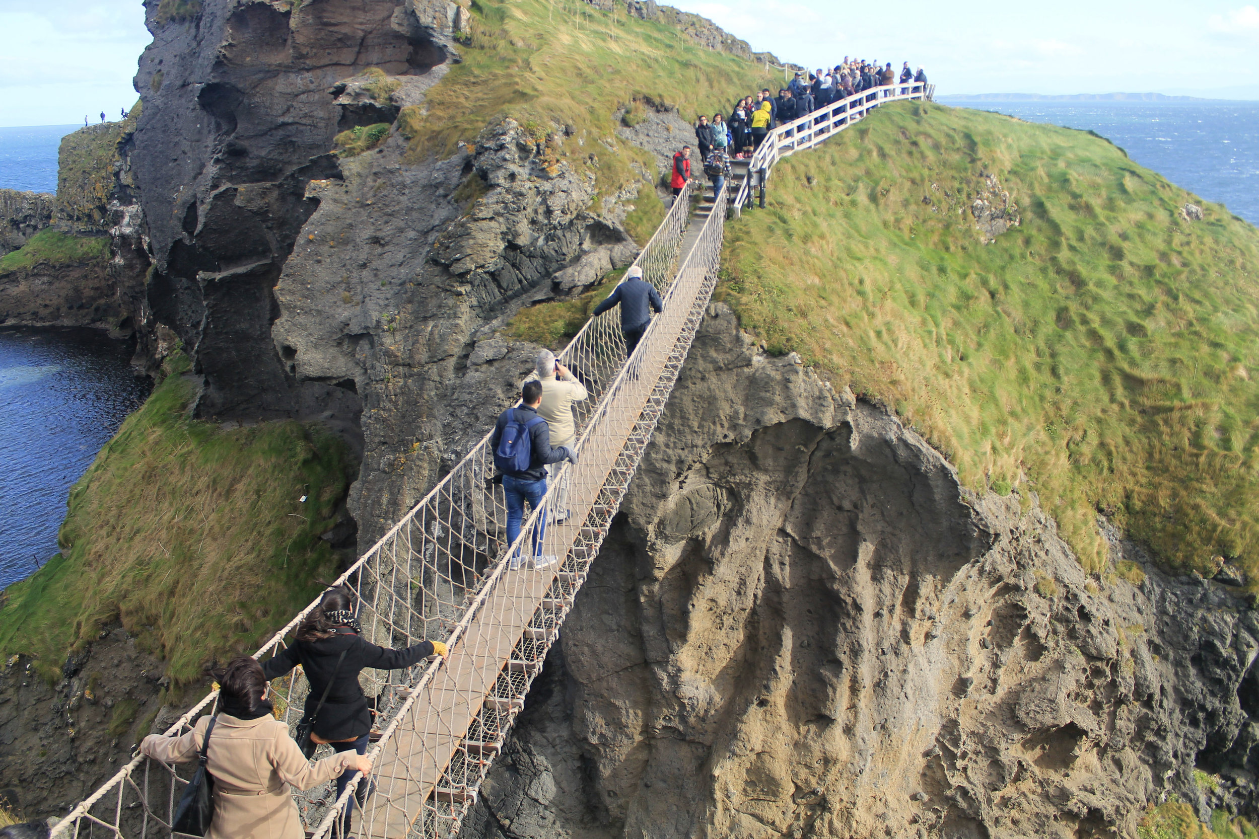 Carrick-A-Rede rope bridge, which is open depending on wind and weather conditions.
