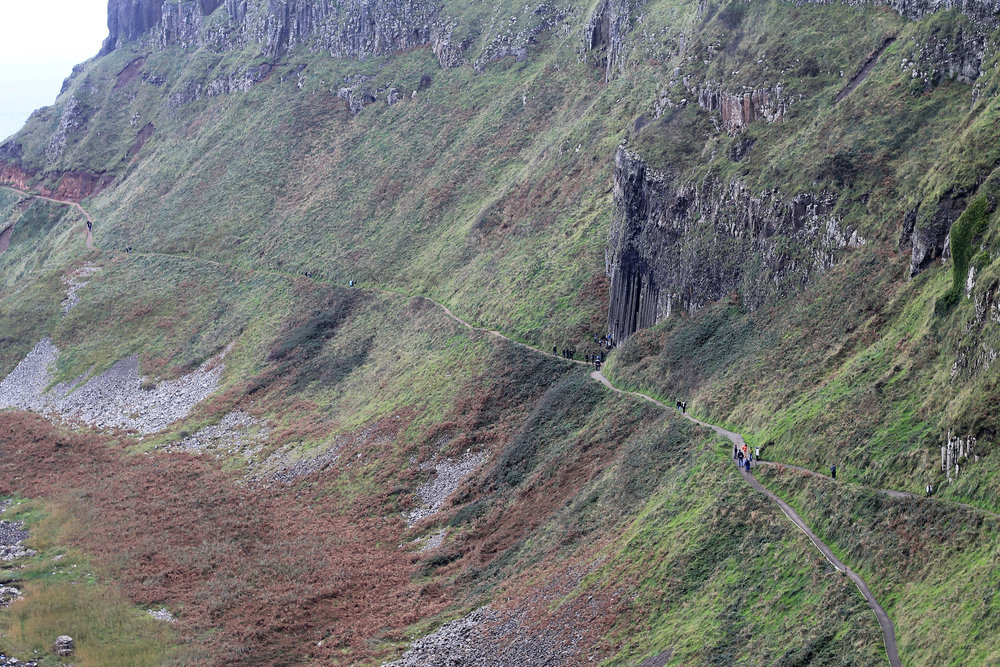 Pathway along the cliffs and hills on the Antrim Coast.