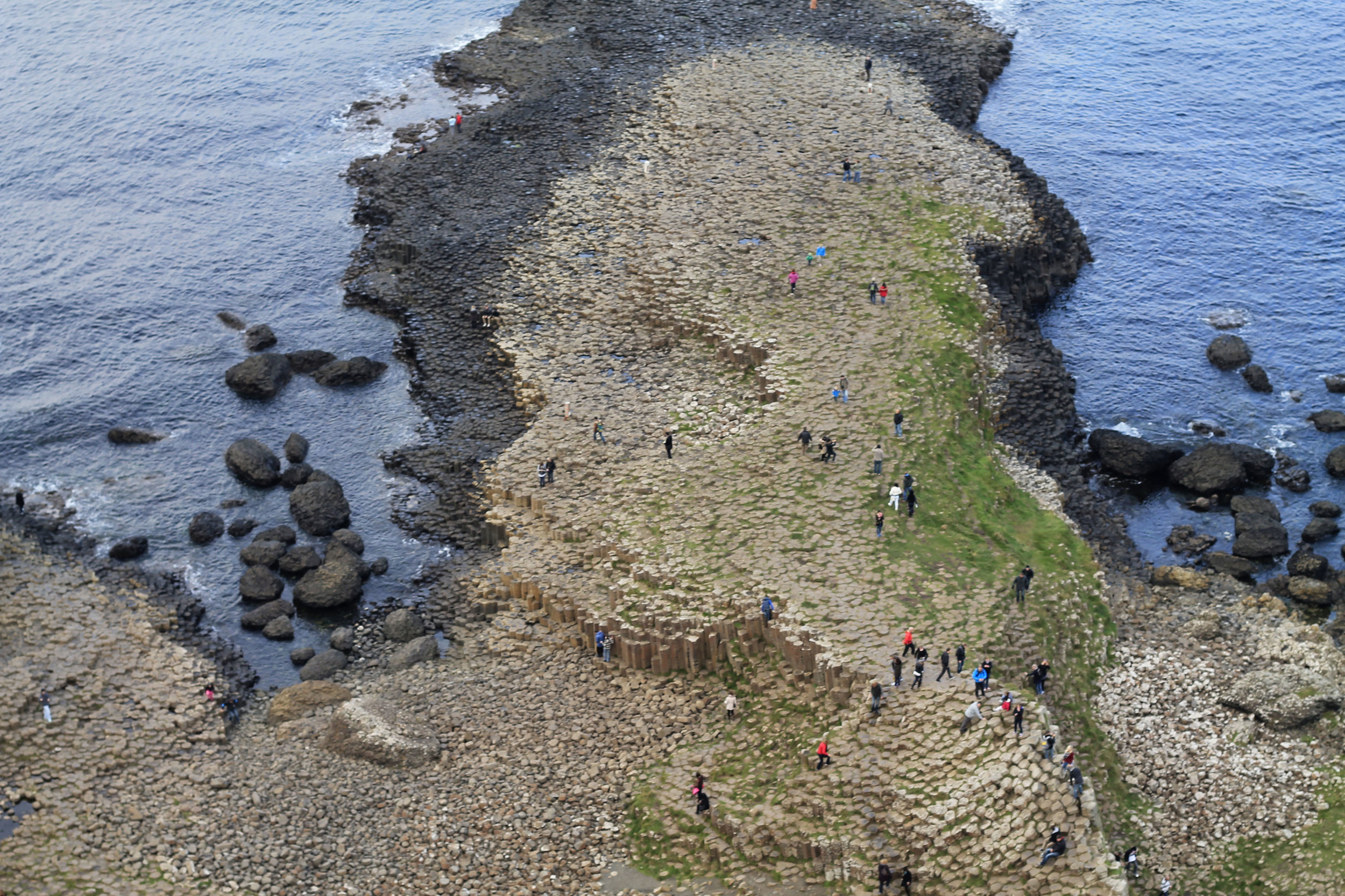 Bird's eye view of Giant's Causeway.