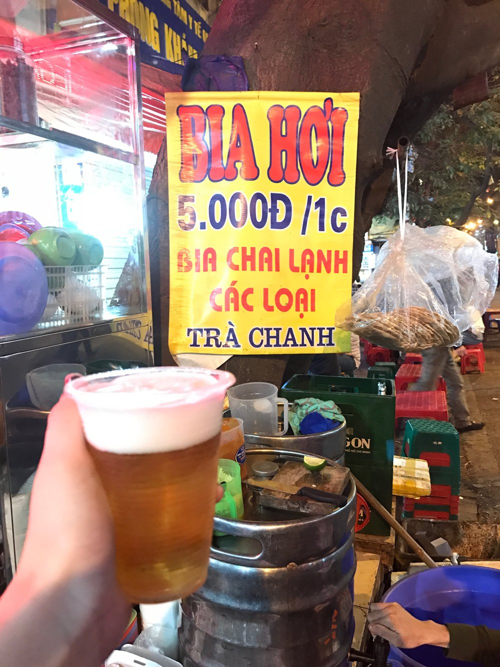 Beer corner is filled with stalls selling draft beer called bia hoi, which costs as little as 20 cents a cup. It's not very strong, but it's brewed fresh each day and sold until it runs out.
