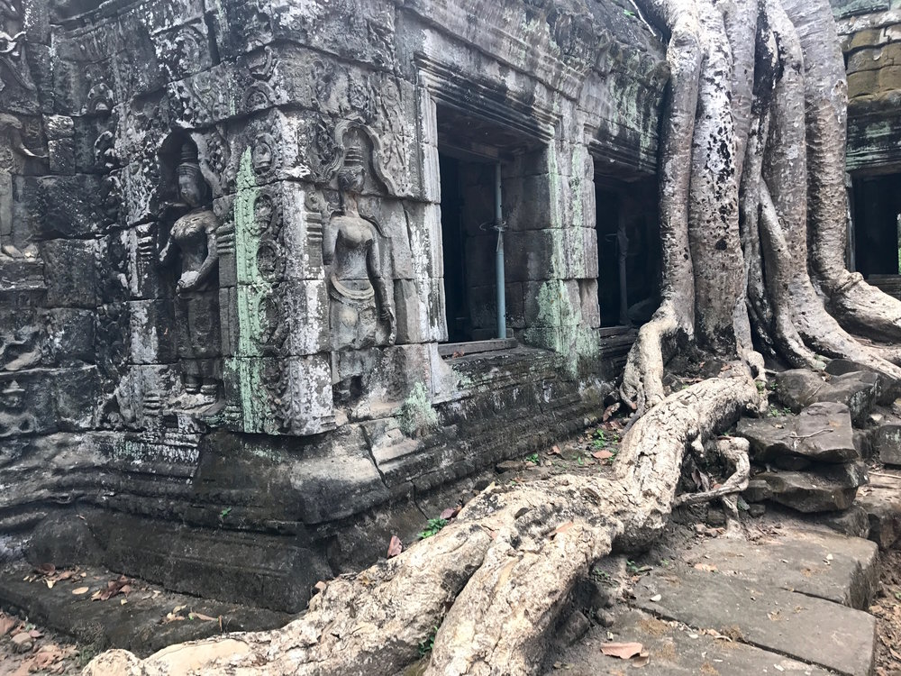Ta Prohm, also known as the Tomb Raider Temple, is an eery temple overrun with vines and tree roots.