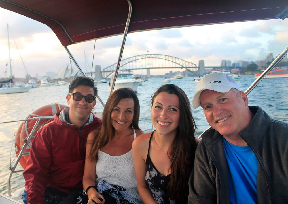 The (sunburnt) fam in the Sydney Harbour for New Year's Eve 2015.