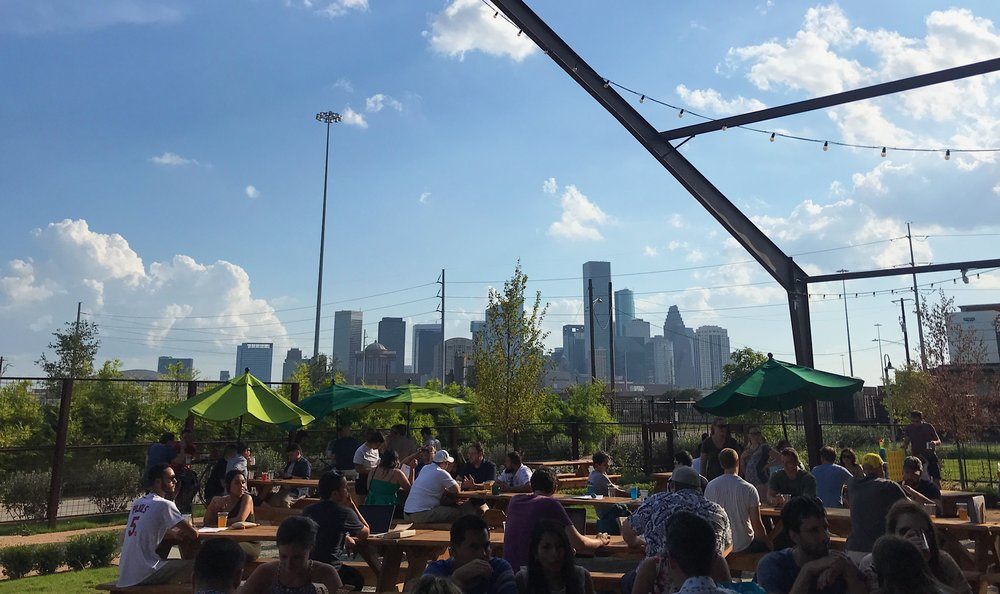 A view of the Houston skyline from the new beer garden by local brewery Saint Arnold's.