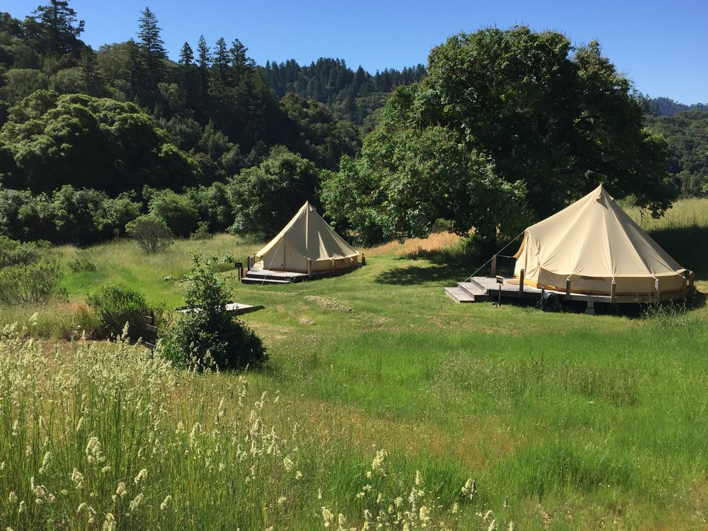 The glamping tents come with heaters and bed warmers!