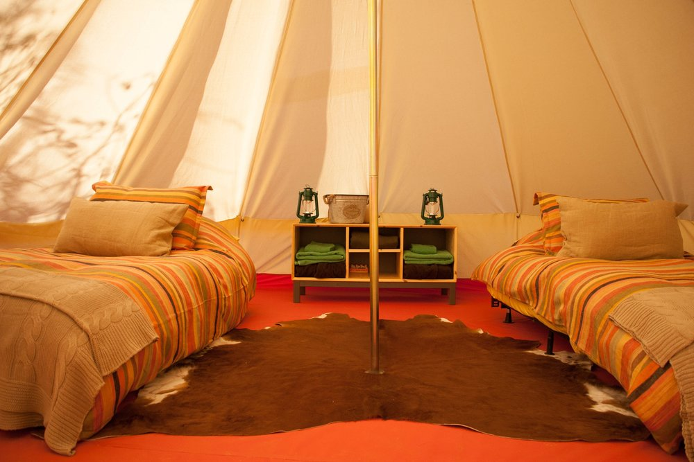 Inside the Glamping tents!