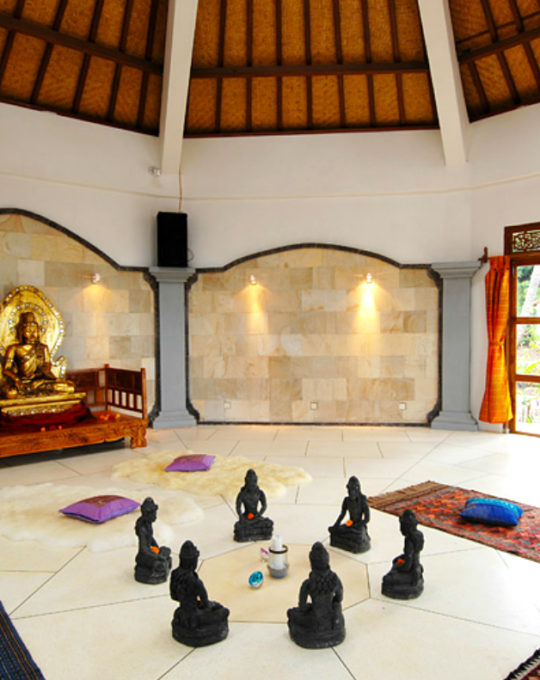 Our classes will be held in this circular temple space, a magical room with ocean breezes and temple carvings.